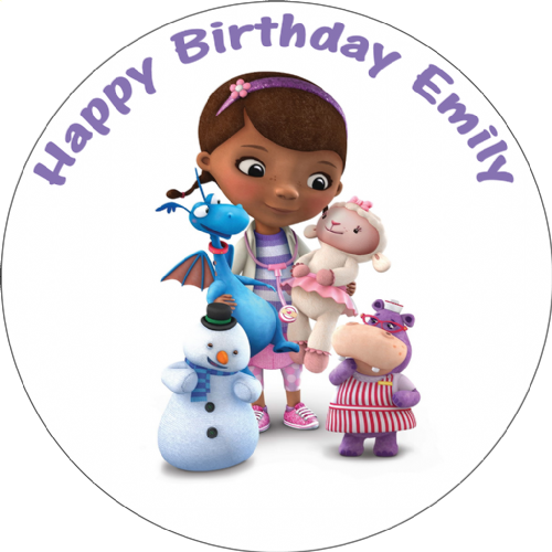 DOC MCSTUFFINS PERSONALISED EDIBLE ROUND PRINTED BIRTHDAY CAKE TOPPER DECORATION
